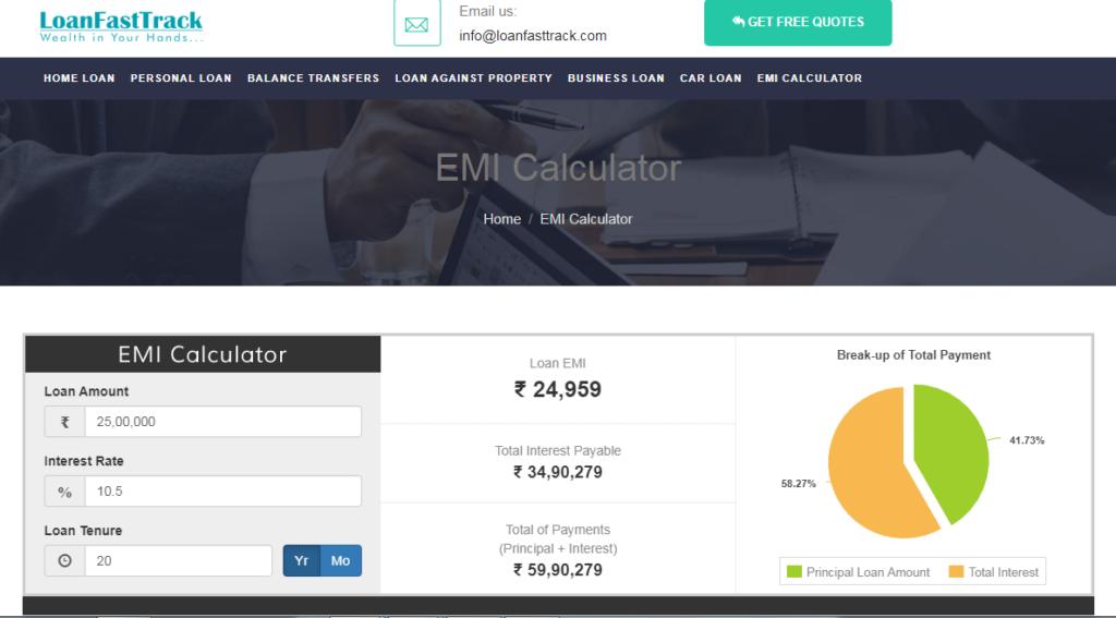 EMI Calculator - Loanfasttrack